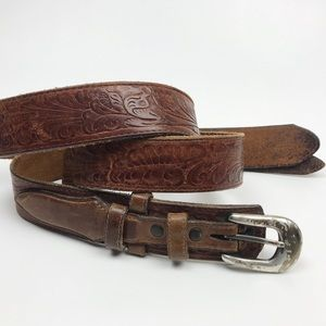 Justin Embossed Leather Western Belt Boho XL